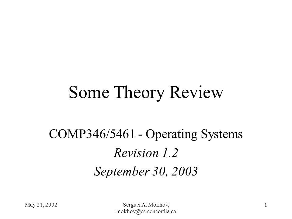 May 21, 2002Serguei A. Mokhov, mokhov@cs.concordia.ca 1 Some Theory Review COMP346/5461 - Operating Systems Revision 1.2 September 30, 2003