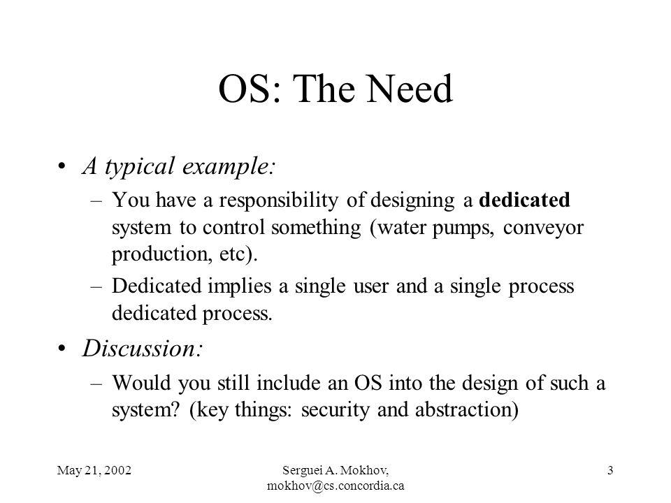 May 21, 2002Serguei A.Mokhov, mokhov@cs.concordia.ca 4 OS: Multiprogramming vs.