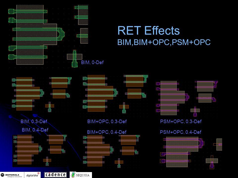 SEQUOIA RET Effects BIM,BIM+OPC,PSM+OPC BIM, 0-Def BIM, 0.3-DefBIM+OPC, 0.3-DefPSM+OPC, 0.3-Def BIM+OPC, 0.4-DefPSM+OPC, 0.4-Def BIM, 0.4-Def