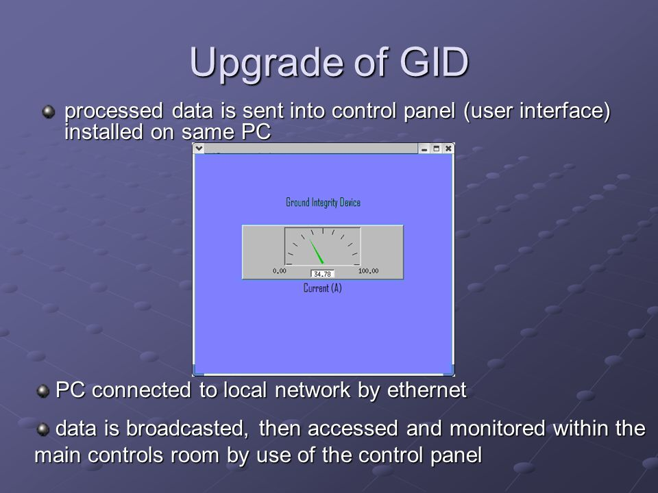 Upgrade of GID processed data is sent into control panel (user interface) installed on same PC PC connected to local network by ethernet PC connected