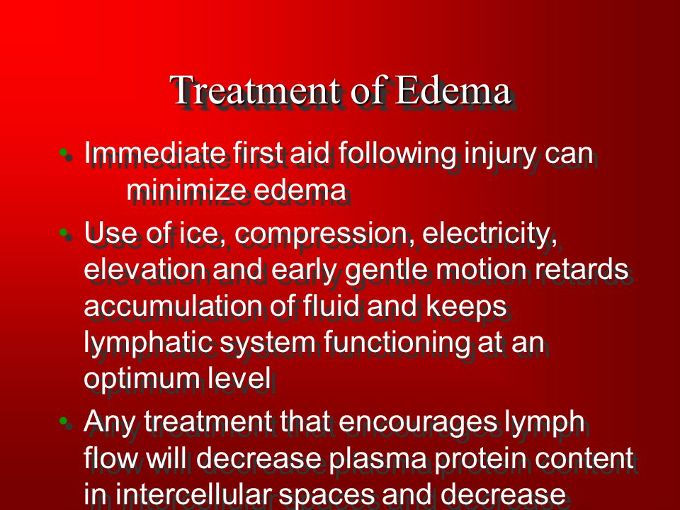 Treatment of Edema Immediate first aid following injury can minimize edema Use of ice, compression, electricity, elevation and early gentle motion ret