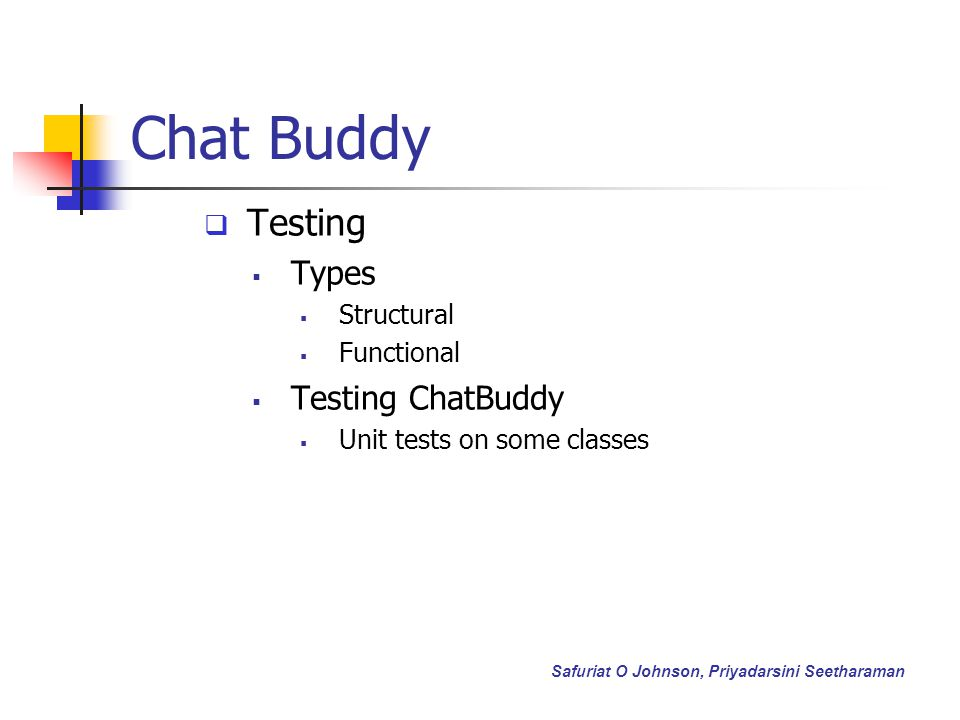 Chat Buddy Testing Types Structural Functional Testing ChatBuddy Unit tests on some classes Safuriat O Johnson, Priyadarsini Seetharaman