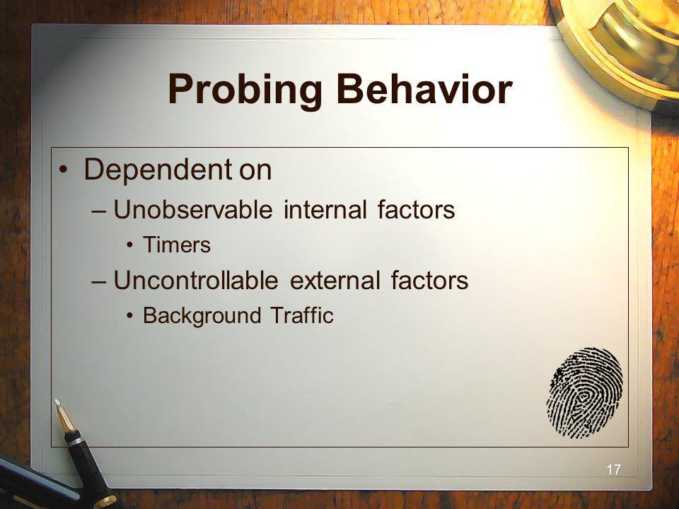 17 Probing Behavior Dependent on –Unobservable internal factors Timers –Uncontrollable external factors Background Traffic
