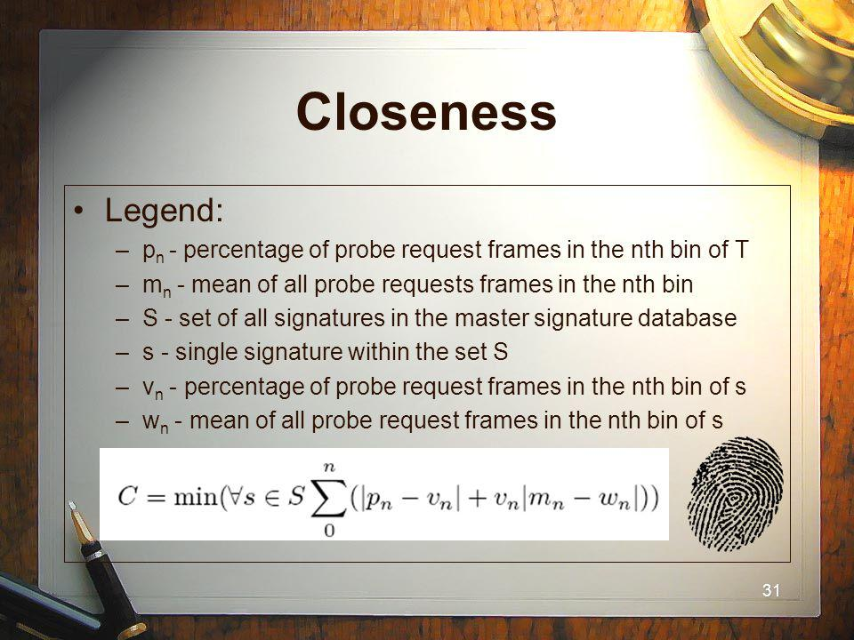 31 Closeness Legend: –p n - percentage of probe request frames in the nth bin of T –m n - mean of all probe requests frames in the nth bin –S - set of