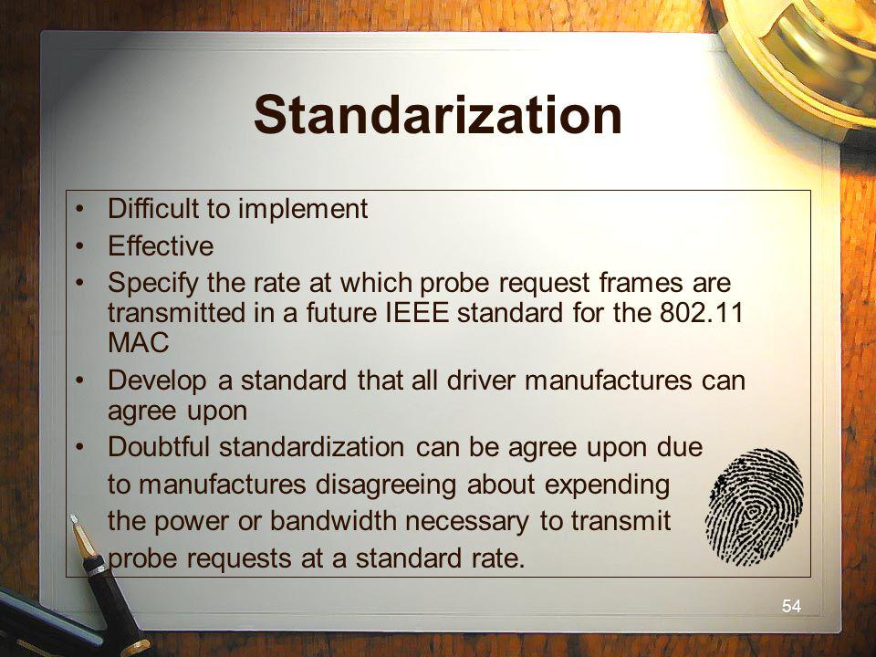 54 Standarization Difficult to implement Effective Specify the rate at which probe request frames are transmitted in a future IEEE standard for the 80