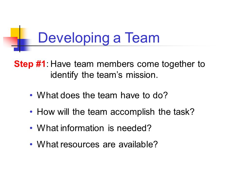 What does the team have to do? How will the team accomplish the task? What information is needed? What resources are available? Step #1:Have team memb