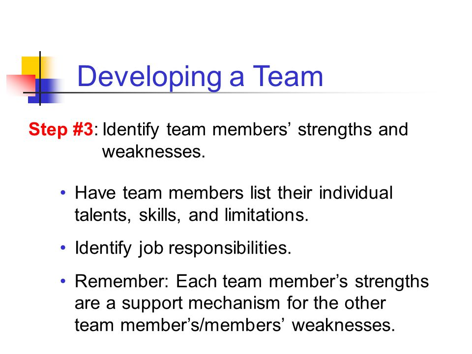 Have team members list their individual talents, skills, and limitations. Identify job responsibilities. Remember: Each team members strengths are a s