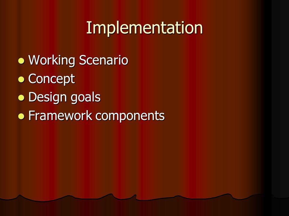 Implementation Working Scenario Working Scenario Concept Concept Design goals Design goals Framework components Framework components