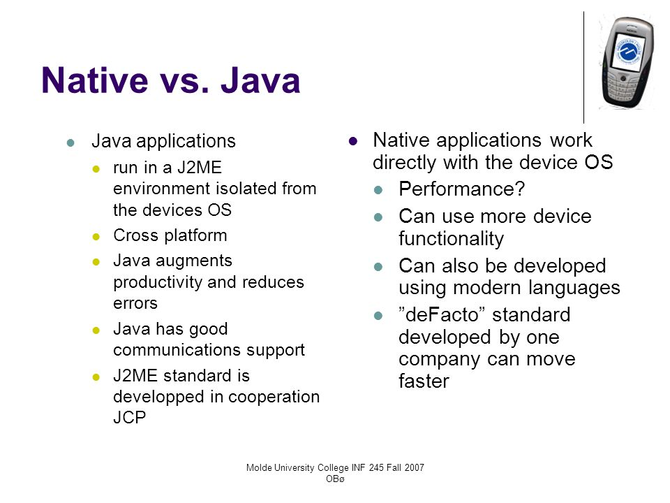 Native vs. Java Java applications run in a J2ME environment isolated from the devices OS Cross platform Java augments productivity and reduces errors