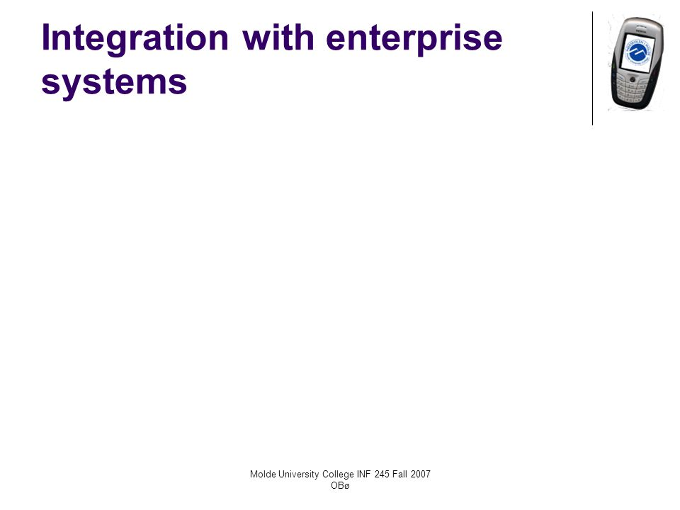 Molde University College INF 245 Fall 2007 OBø Integration with enterprise systems