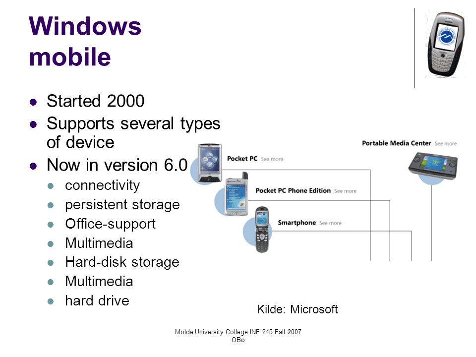 Molde University College INF 245 Fall 2007 OBø Windows mobile Started 2000 Supports several types of device Now in version 6.0 connectivity persistent storage Office-support Multimedia Hard-disk storage Multimedia hard drive Kilde: Microsoft