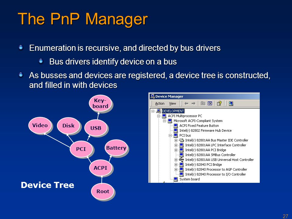 27 The PnP Manager Enumeration is recursive, and directed by bus drivers Bus drivers identify device on a bus As busses and devices are registered, a device tree is constructed, and filled in with devices Root ACPI PCI USB Video Disk Key- board Battery Device Tree