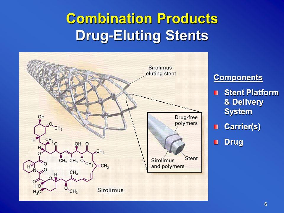 6 Combination Products Drug-Eluting Stents Components Stent Platform & Delivery System Carrier(s)Drug