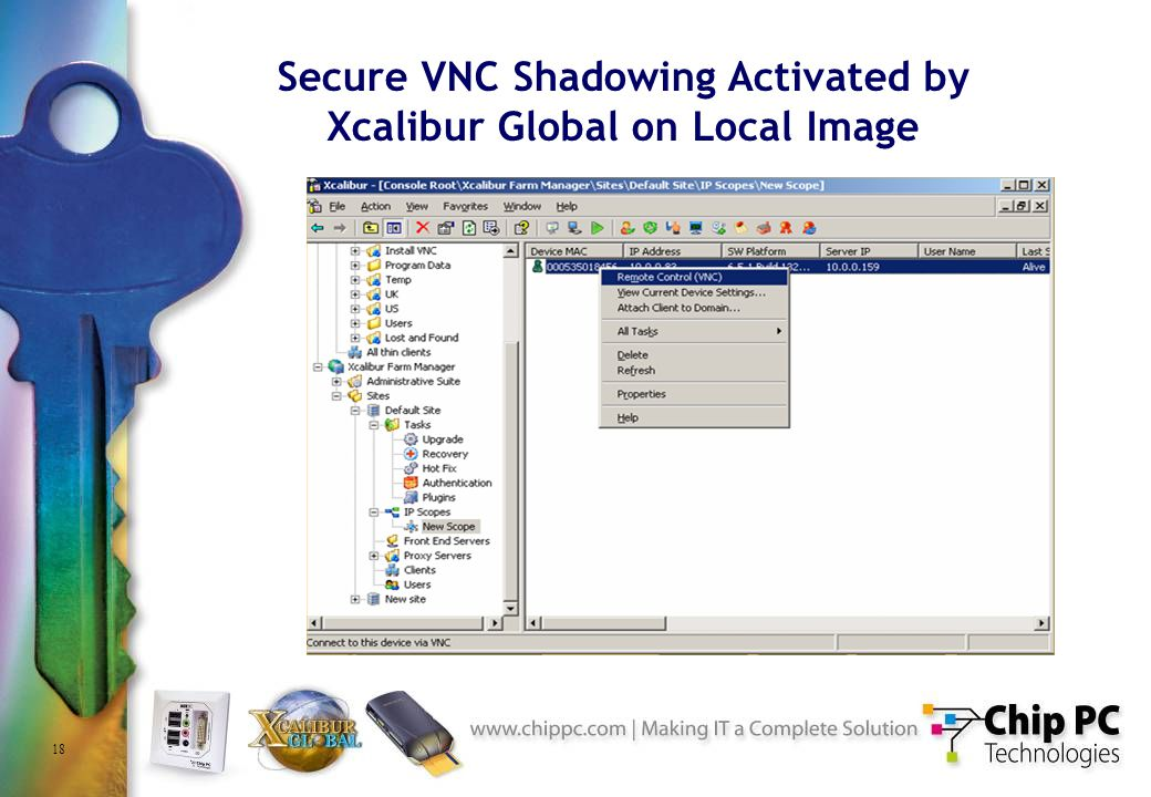 18 Secure VNC Shadowing Activated by Xcalibur Global on Local Image