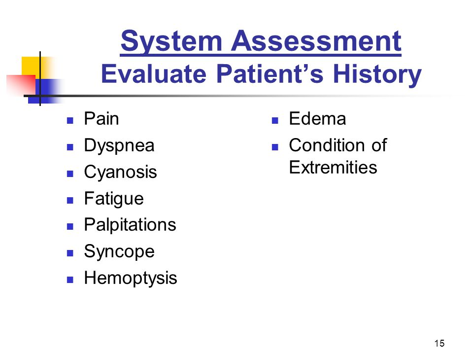 15 System Assessment Evaluate Patients History Pain Dyspnea Cyanosis Fatigue Palpitations Syncope Hemoptysis Edema Condition of Extremities