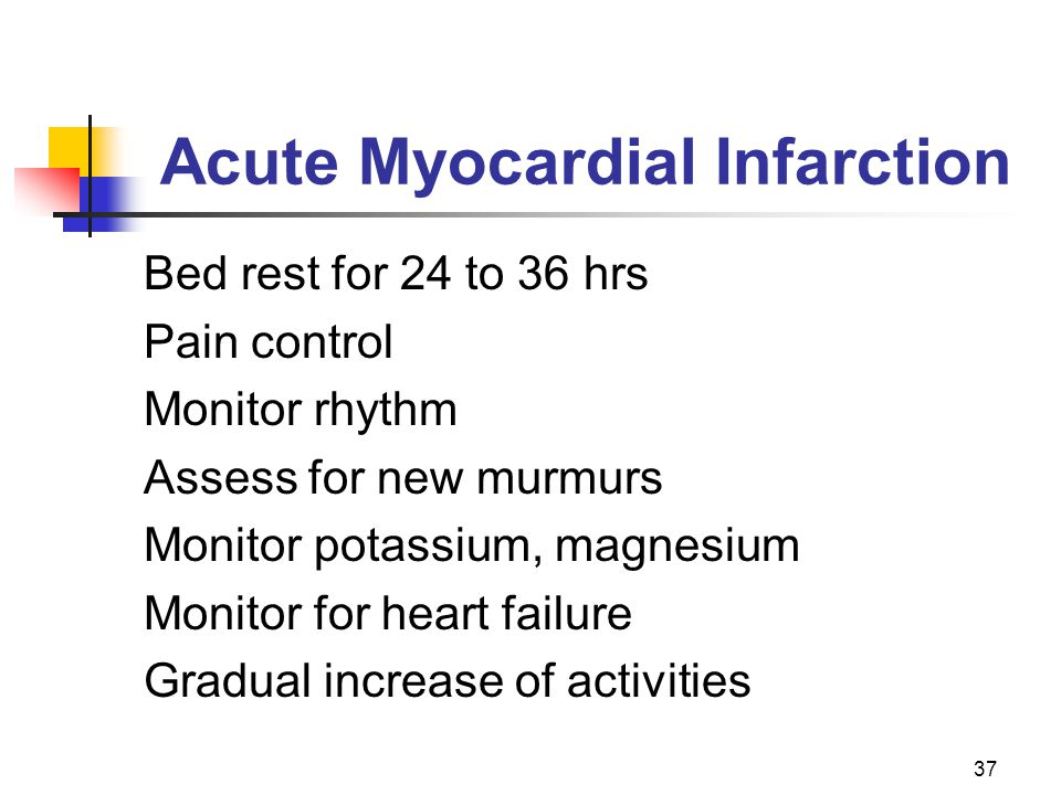 37 Acute Myocardial Infarction Bed rest for 24 to 36 hrs Pain control Monitor rhythm Assess for new murmurs Monitor potassium, magnesium Monitor for h