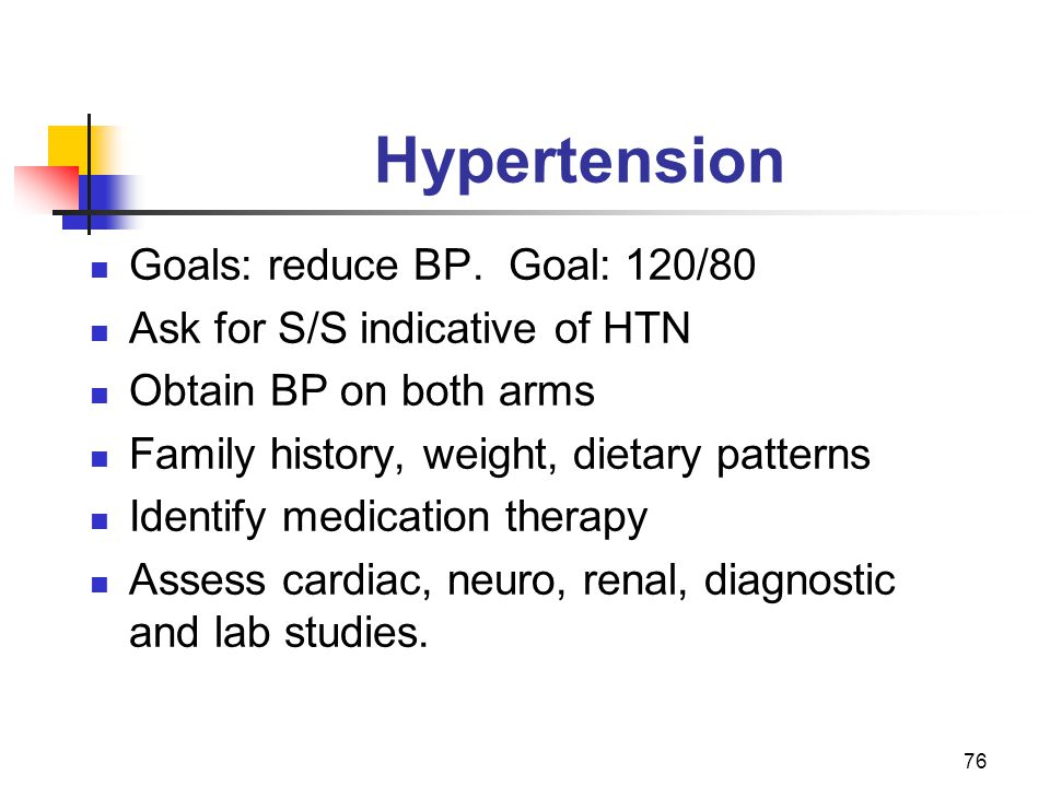 76 Hypertension Goals: reduce BP. Goal: 120/80 Ask for S/S indicative of HTN Obtain BP on both arms Family history, weight, dietary patterns Identify