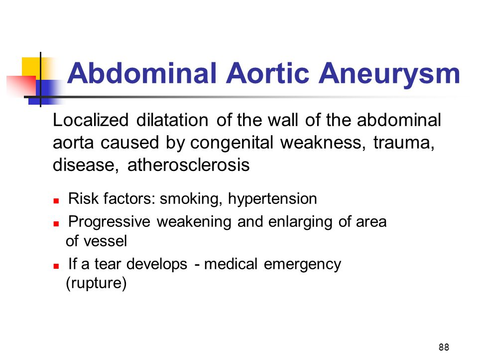 88 Abdominal Aortic Aneurysm Localized dilatation of the wall of the abdominal aorta caused by congenital weakness, trauma, disease, atherosclerosis R