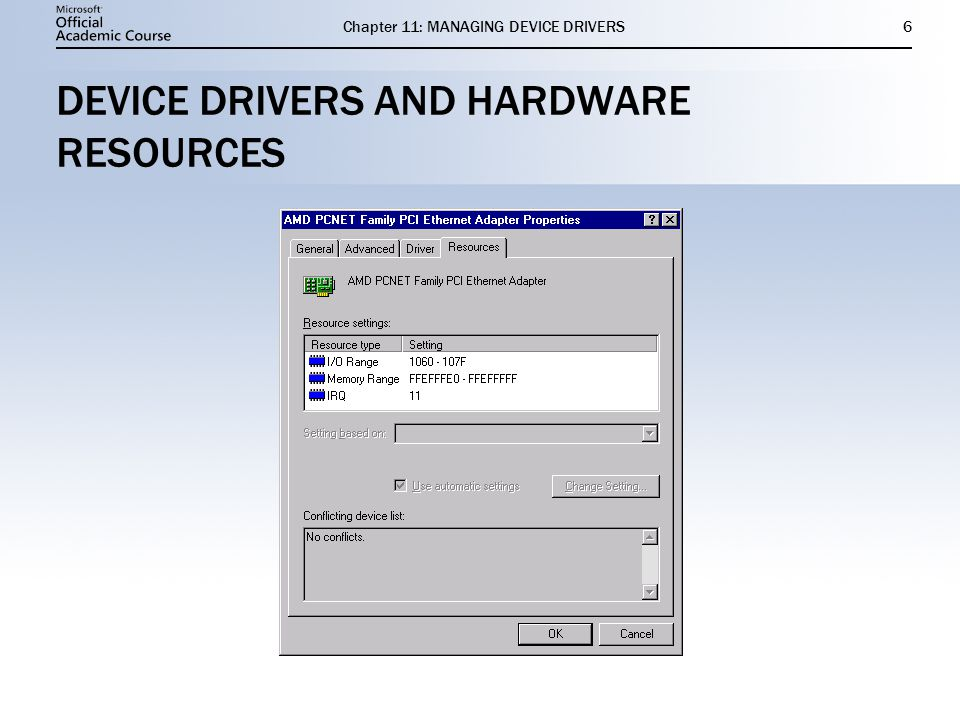 Chapter 11: MANAGING DEVICE DRIVERS6 DEVICE DRIVERS AND HARDWARE RESOURCES