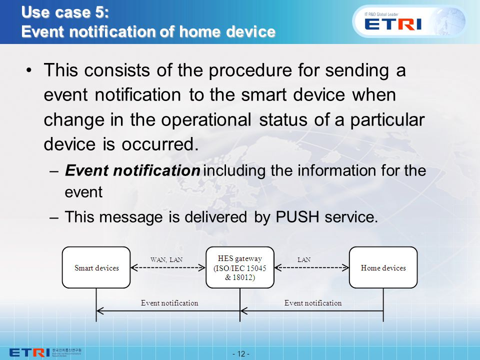 Use case 5: Event notification of home device This consists of the procedure for sending a event notification to the smart device when change in the operational status of a particular device is occurred.