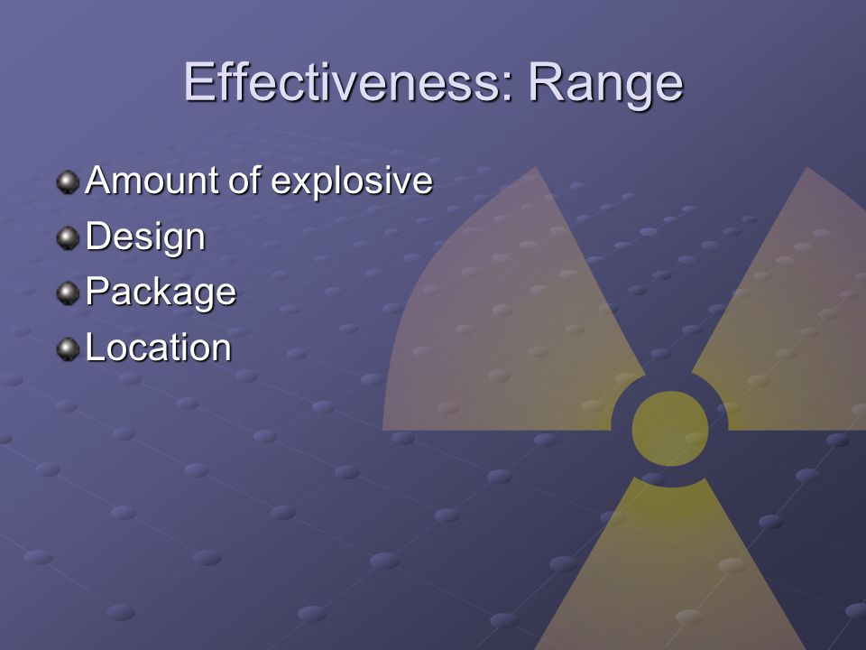 Effectiveness: Range Amount of explosive DesignPackageLocation