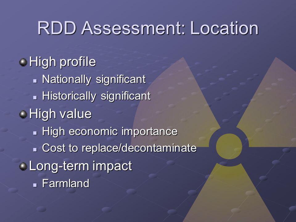 RDD Assessment: Location High profile Nationally significant Nationally significant Historically significant Historically significant High value High