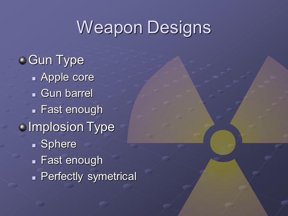 Weapon Designs Gun Type Apple core Apple core Gun barrel Gun barrel Fast enough Fast enough Implosion Type Sphere Sphere Fast enough Fast enough Perfectly symetrical Perfectly symetrical
