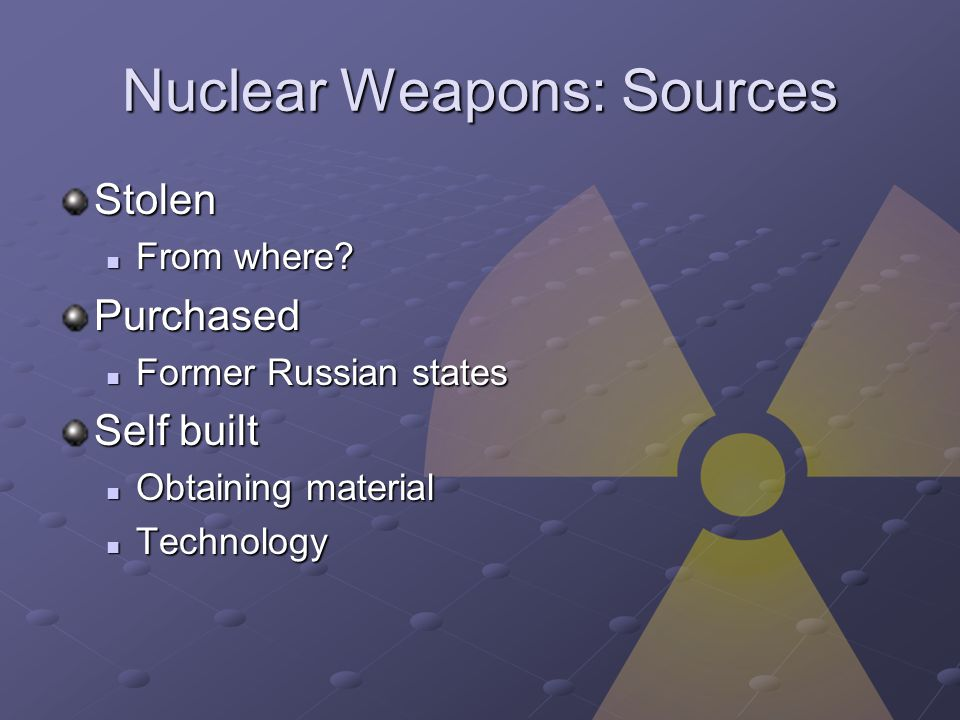 Nuclear Weapons: Sources Stolen From where.