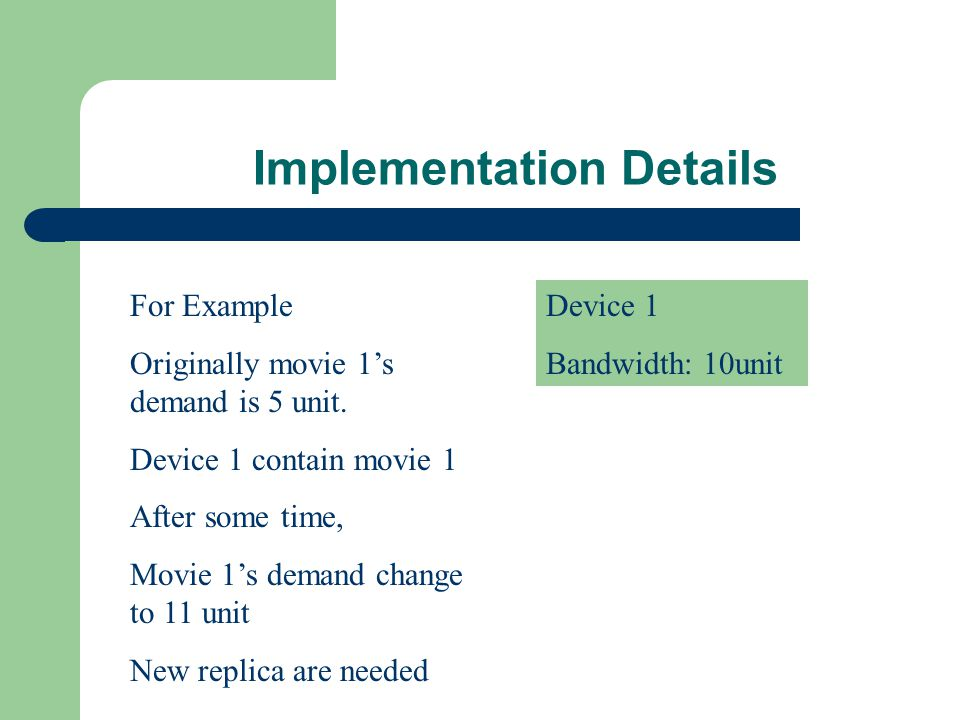 Implementation Details Device 1 Bandwidth: 10unit For Example Originally movie 1s demand is 5 unit.