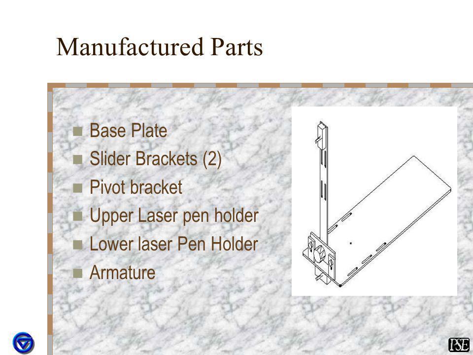 Manufactured Parts Base Plate Slider Brackets (2) Pivot bracket Upper Laser pen holder Lower laser Pen Holder Armature
