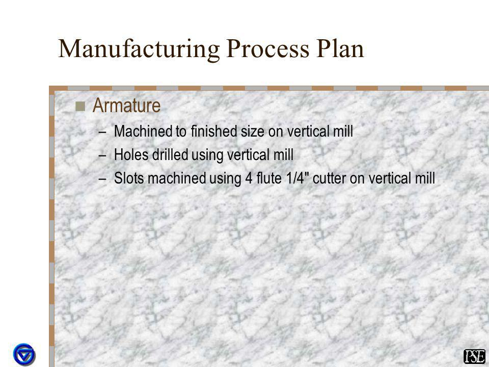 Manufacturing Process Plan Armature –Machined to finished size on vertical mill –Holes drilled using vertical mill –Slots machined using 4 flute 1/4