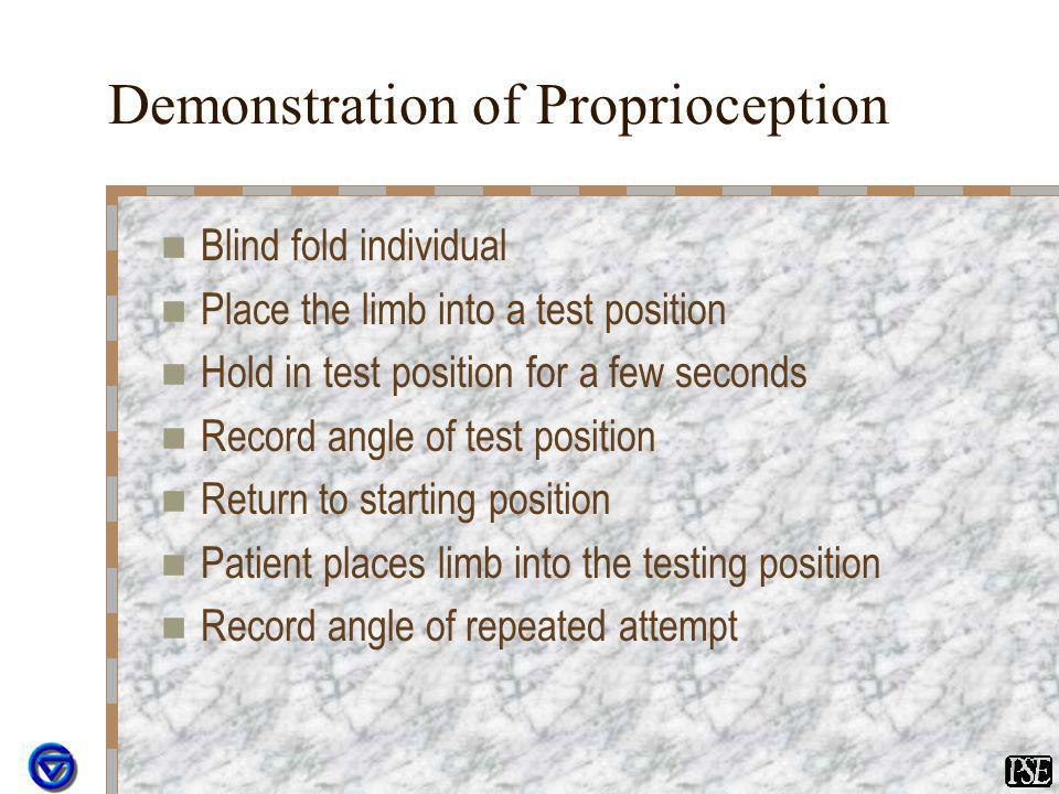 Demonstration of Proprioception Blind fold individual Place the limb into a test position Hold in test position for a few seconds Record angle of test