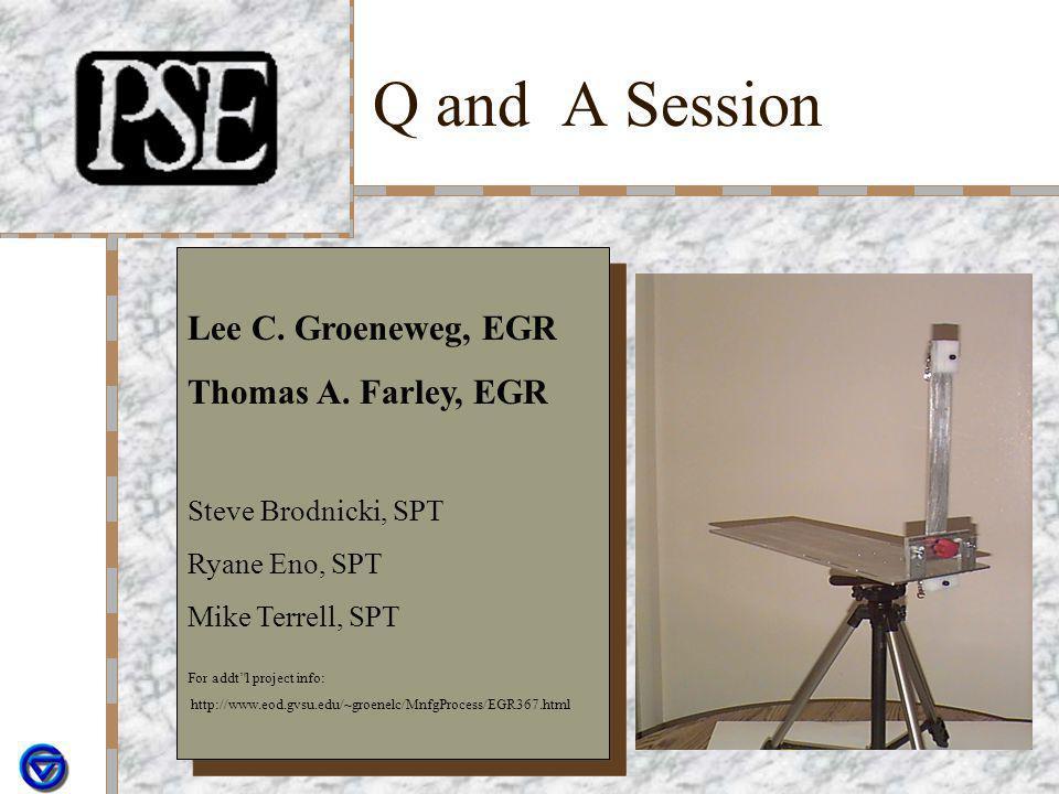Q and A Session Lee C. Groeneweg, EGR Thomas A. Farley, EGR Steve Brodnicki, SPT Ryane Eno, SPT Mike Terrell, SPT For addt'l project info: http://www.