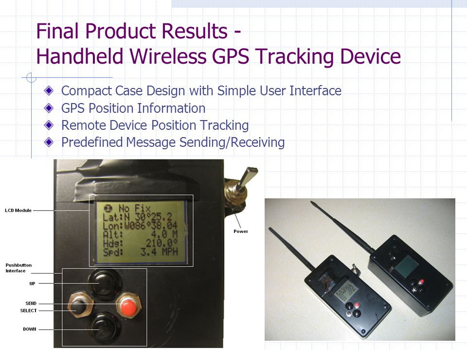 Final Product Results - Handheld Wireless GPS Tracking Device Compact Case Design with Simple User Interface GPS Position Information Remote Device Position Tracking Predefined Message Sending/Receiving
