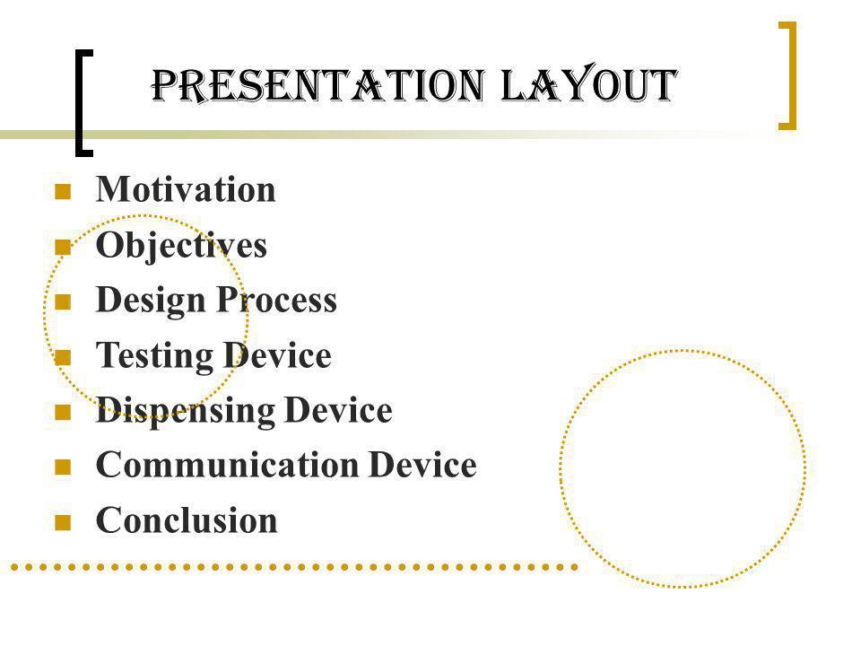 Presentation Layout Motivation Objectives Design Process Testing Device Dispensing Device Communication Device Conclusion