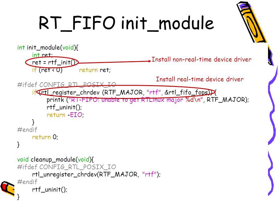 RT_FIFO init_module int init_module(void){ int ret; ret = rtf_init(); if (ret < 0) return ret; #ifdef CONFIG_RTL_POSIX_IO if (rtl_register_chrdev (RTF