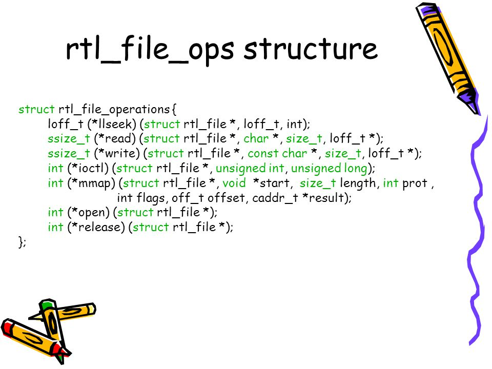 rtl_file_ops structure struct rtl_file_operations { loff_t (*llseek) (struct rtl_file *, loff_t, int); ssize_t (*read) (struct rtl_file *, char *, siz