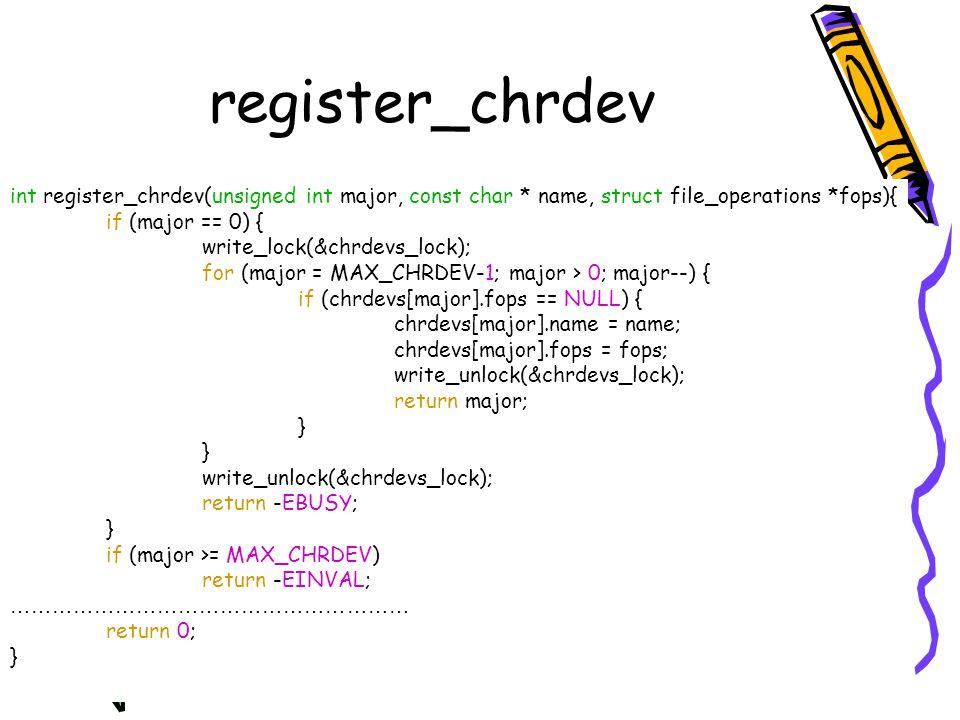 register_chrdev int register_chrdev(unsigned int major, const char * name, struct file_operations *fops){ if (major == 0) { write_lock(&chrdevs_lock);