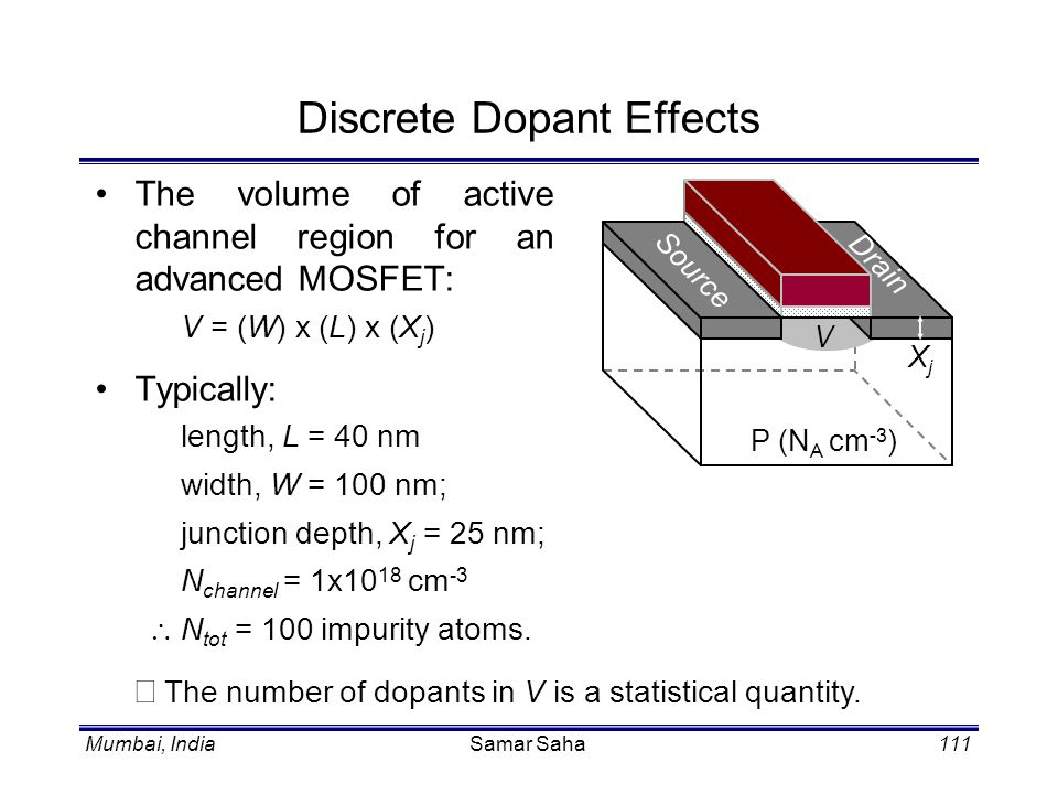 Mumbai, IndiaSamar Saha111 Discrete Dopant Effects The volume of active channel region for an advanced MOSFET: V = (W) x (L) x (X j ) Typically: lengt