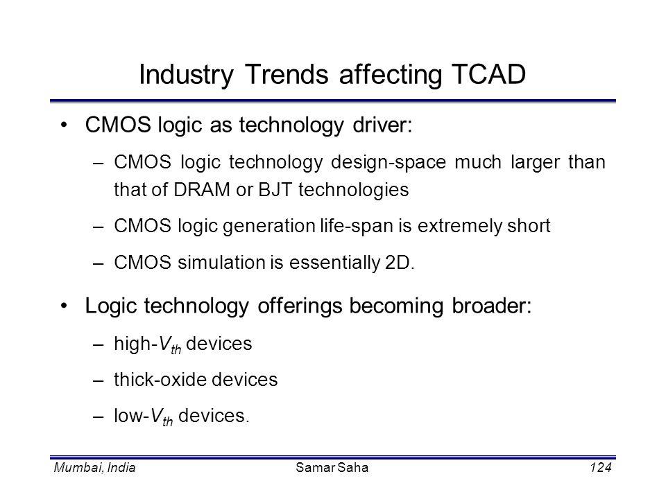 Mumbai, IndiaSamar Saha124 Industry Trends affecting TCAD CMOS logic as technology driver: –CMOS logic technology design-space much larger than that o