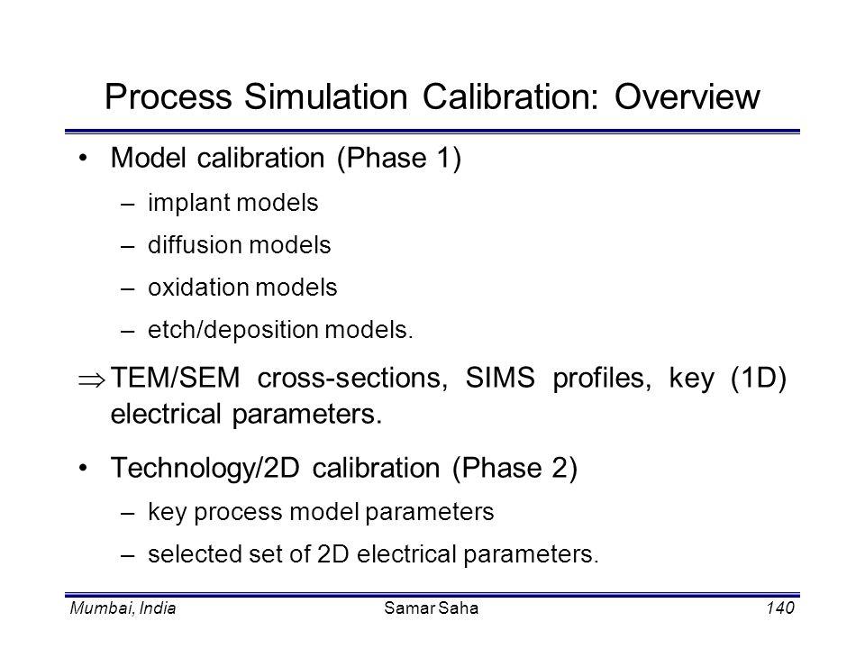 Mumbai, IndiaSamar Saha140 Process Simulation Calibration: Overview Model calibration (Phase 1) –implant models –diffusion models –oxidation models –e