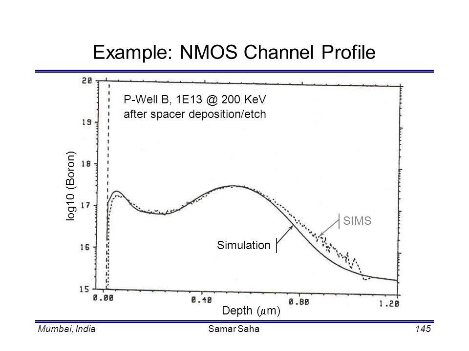 Mumbai, IndiaSamar Saha145 Example: NMOS Channel Profile P-Well B, 1E13 @ 200 KeV after spacer deposition/etch Depth ( m) log10 (Boron) SIMS Simulatio