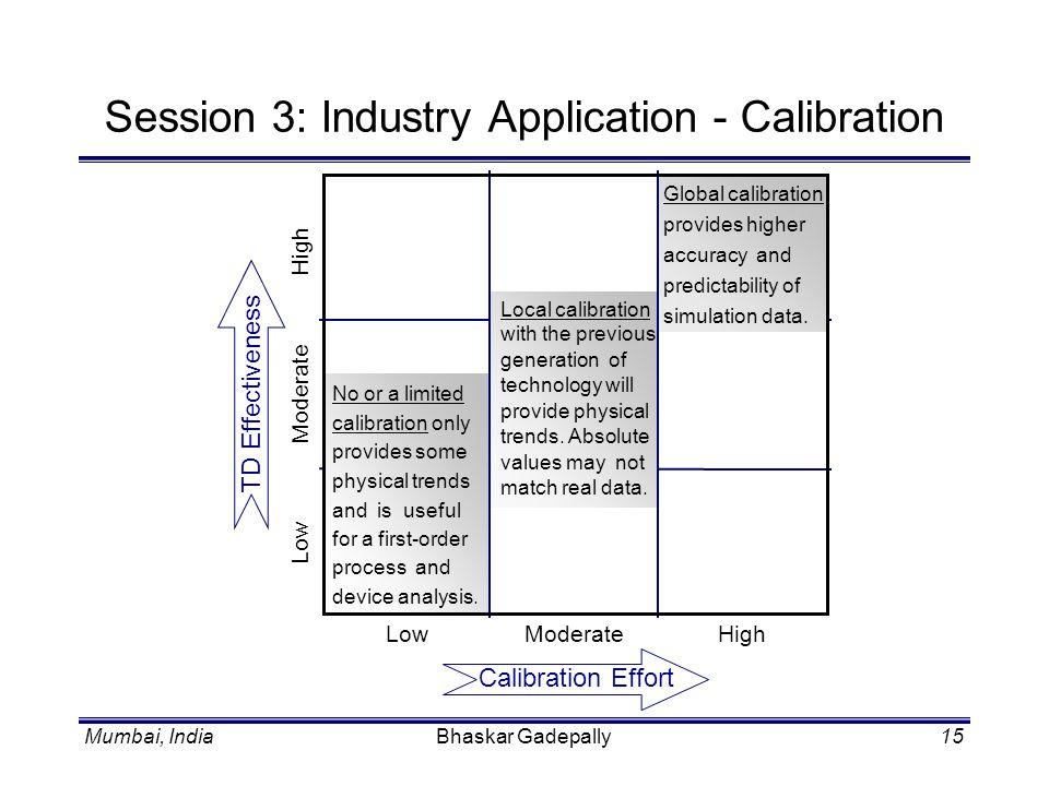 Mumbai, IndiaBhaskar Gadepally15 Session 3: Industry Application - Calibration Calibration Effort TD Effectiveness LowModerateHigh Low Moderate High N