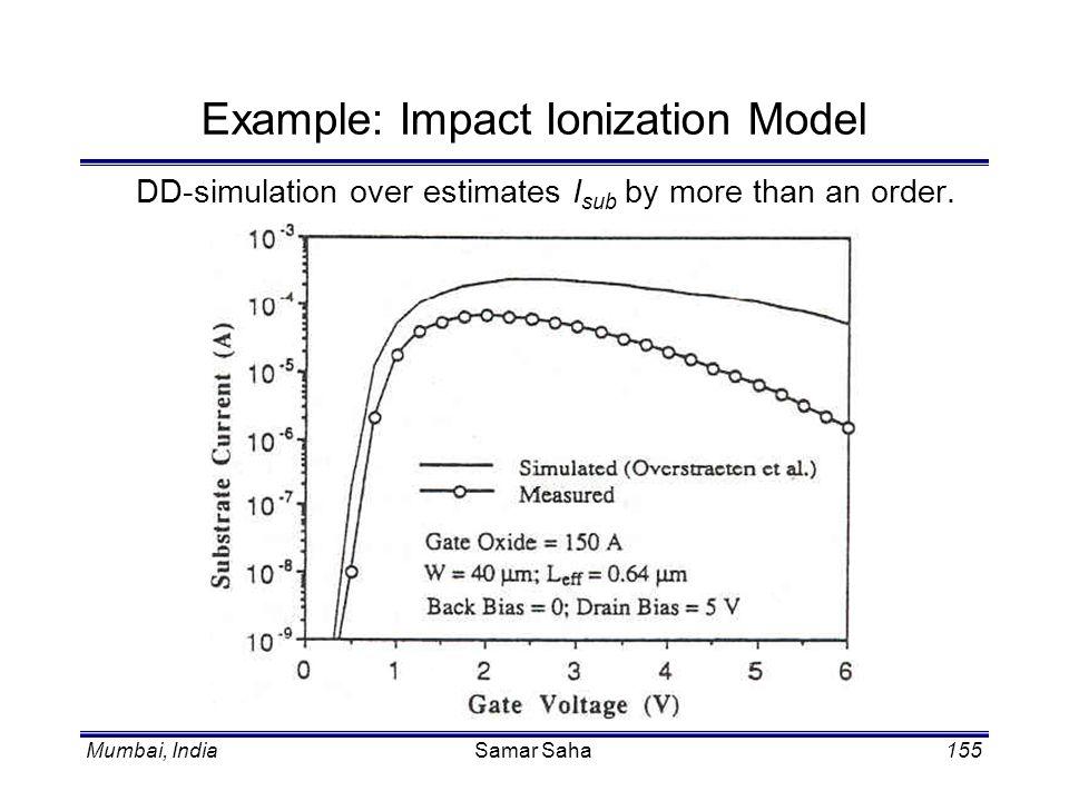 Mumbai, IndiaSamar Saha155 Example: Impact Ionization Model DD-simulation over estimates I sub by more than an order.