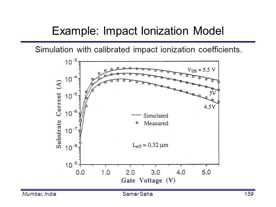 Mumbai, IndiaSamar Saha159 Example: Impact Ionization Model Simulation with calibrated impact ionization coefficients.