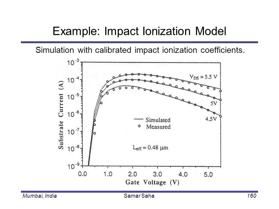 Mumbai, IndiaSamar Saha160 Example: Impact Ionization Model Simulation with calibrated impact ionization coefficients.