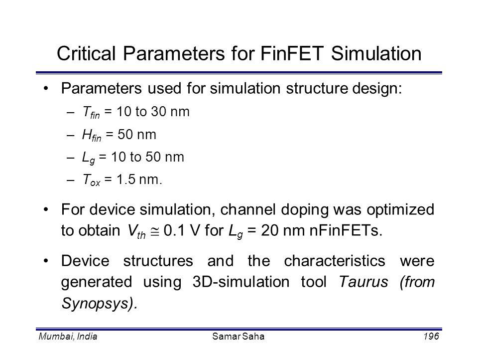 Mumbai, IndiaSamar Saha196 Critical Parameters for FinFET Simulation Parameters used for simulation structure design: –T fin = 10 to 30 nm –H fin = 50