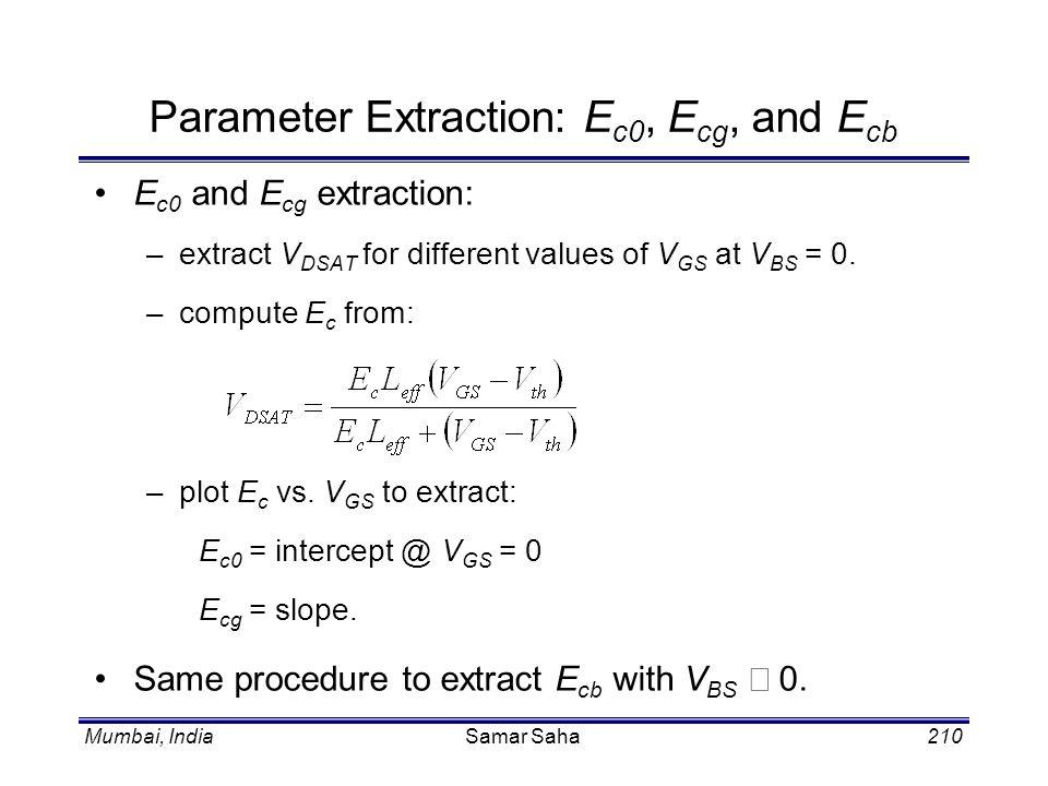 Mumbai, IndiaSamar Saha210 Parameter Extraction: E c0, E cg, and E cb E c0 and E cg extraction: –extract V DSAT for different values of V GS at V BS =
