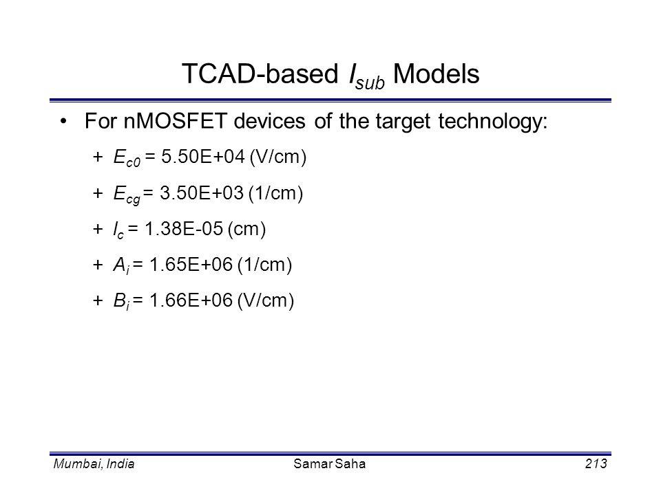 Mumbai, IndiaSamar Saha213 TCAD-based I sub Models For nMOSFET devices of the target technology: +E c0 = 5.50E+04 (V/cm) +E cg = 3.50E+03 (1/cm) +l c