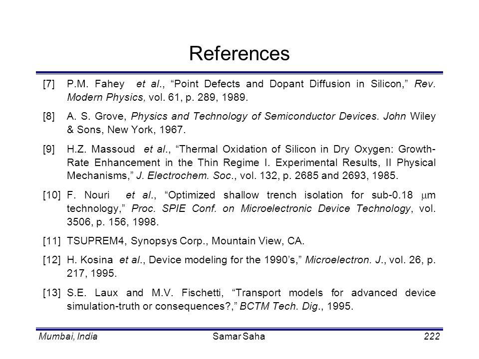 Mumbai, IndiaSamar Saha222 References [7]P.M. Fahey et al., Point Defects and Dopant Diffusion in Silicon, Rev. Modern Physics, vol. 61, p. 289, 1989.